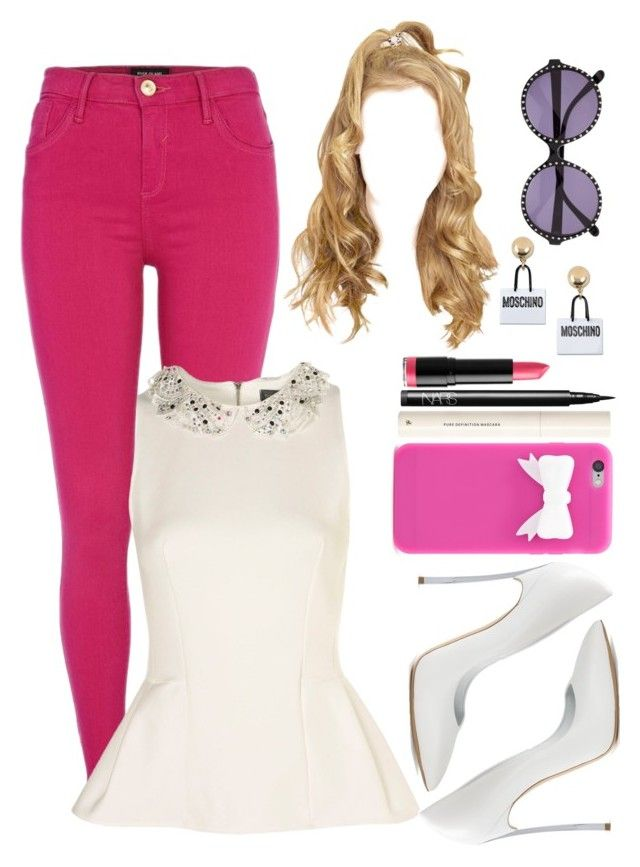 """""""Untitled #600"""" by eduardafrancisca69 ❤ liked on Polyvore featuring River Island, Casadei, Forever 21, H&M, NARS Cosmetics, Heidi London and Moschino"""