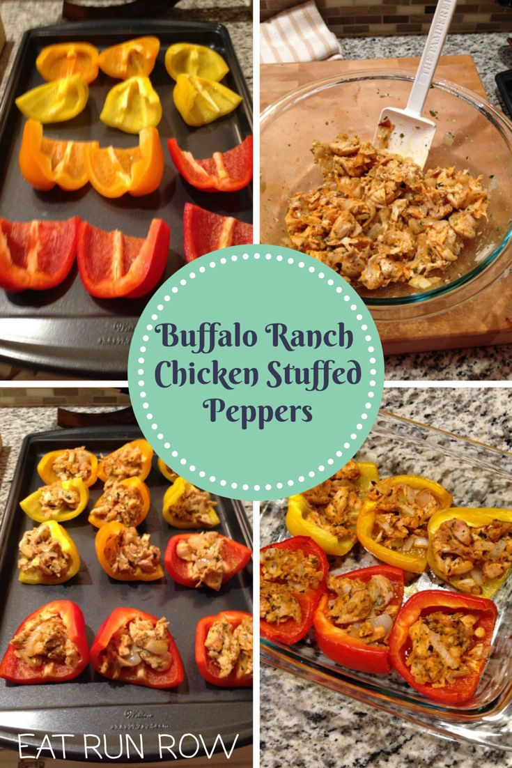 Buffalo Ranch Chicken Stuffed Peppers | Whole30, Paleo & Gluten Free!  Recipe via Primally Inspired  Get the recipe here: http://www.eatrunrow.com/eat/buffalo-chicken-stuffed-peppers/ #Paleo #Whole30