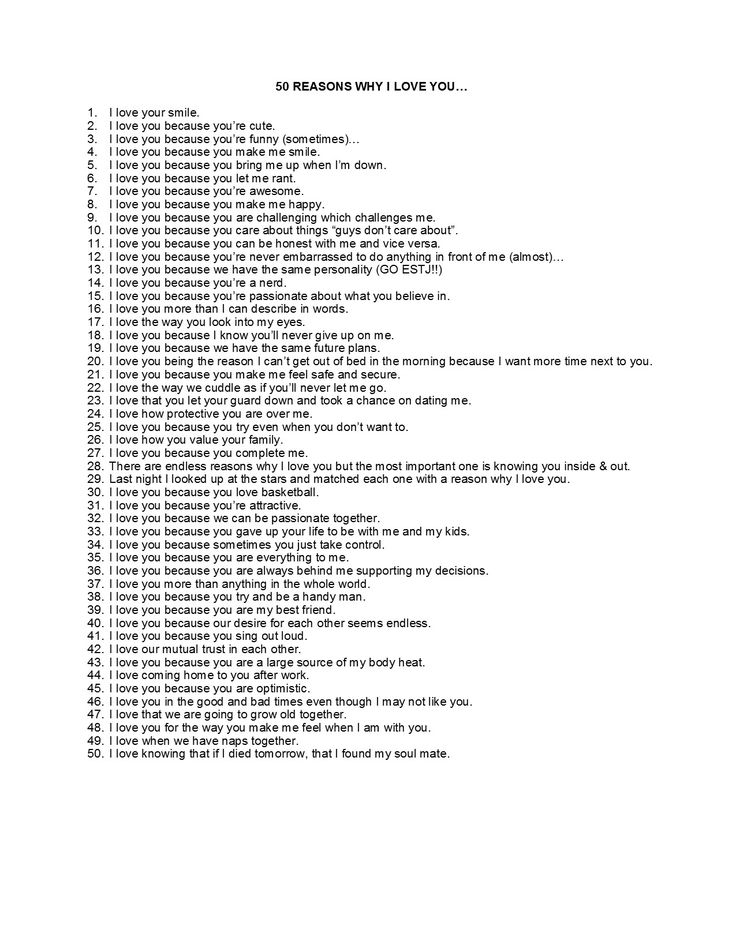 50 reasons why I love you                                                                                                                                                                                 More