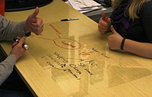 A clear whiteboard for a desk! Whoop! Comes bundled with a marker that only erases with water so you can make stellar outlines and designs.