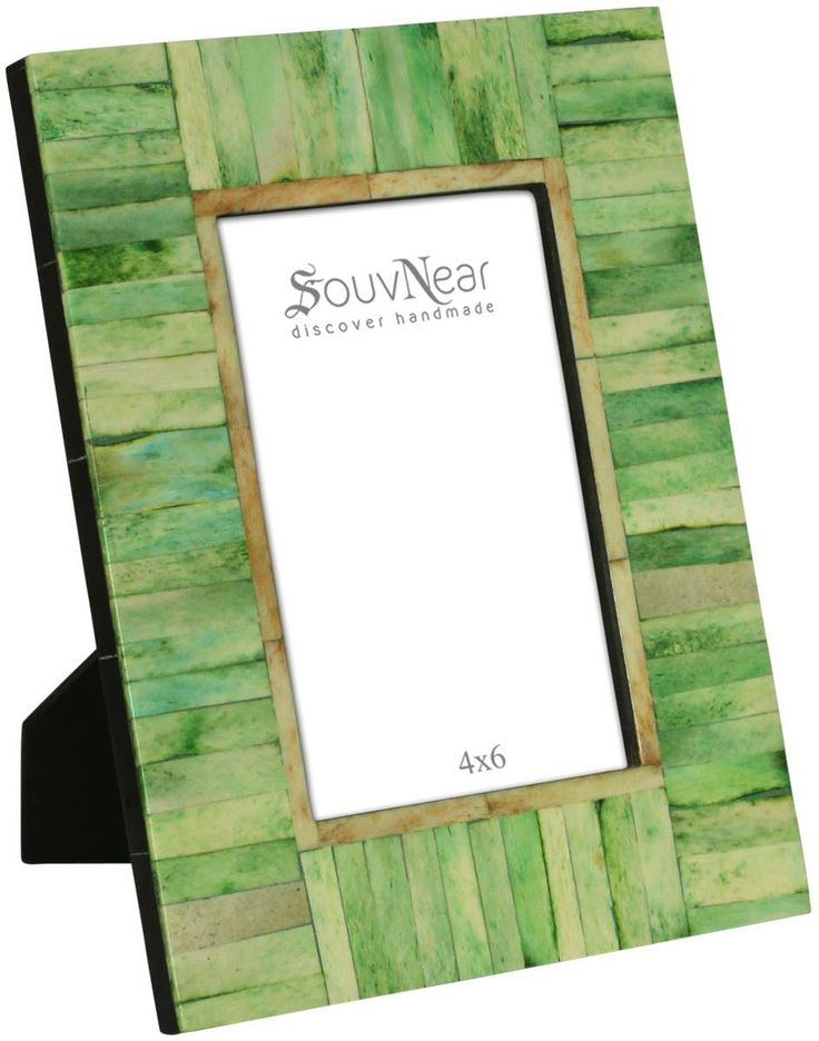 4x6 Inches Green Picture Frame in Bulk – Wholesale Handmade Photo Frame in Natural Bone & Mdf with Rectangular Tiles - Home Decor Picture Frames from India