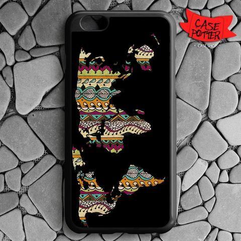 World Map Aztec Pattern iPhone 6 Plus iPhone 6S Plus Black Case