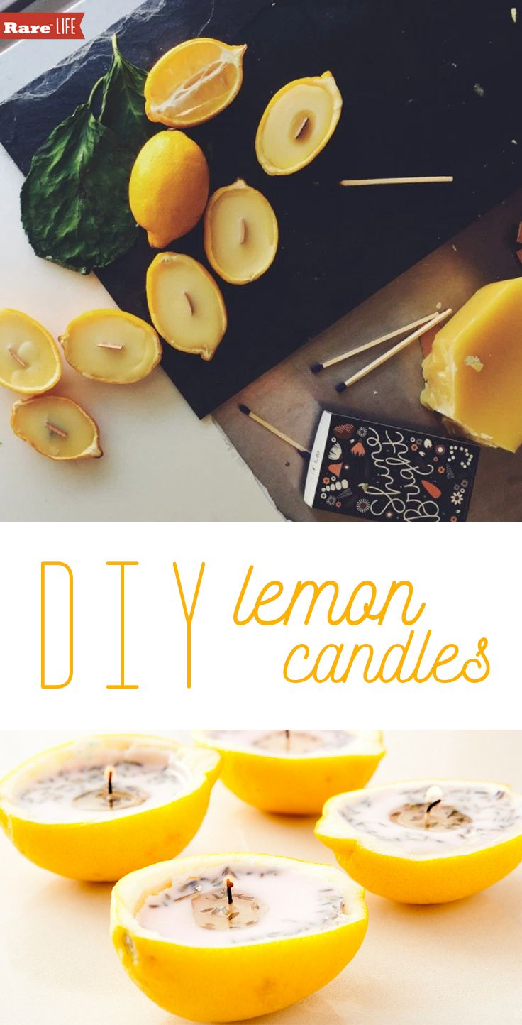 DIY Lemon Candles! Such a great-eco-friendly DIY project.  #rareus #ad