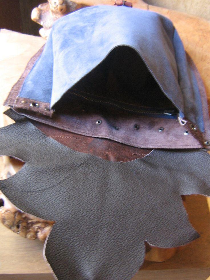 interno borsa con struttura della foglia