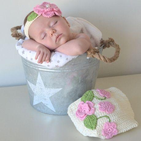 Cubrepa al de crochet con diadema cubrepa al hecho a mano for Diademas para bebes de ganchillo