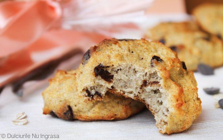 Biscuiti cu Fulgi de Ovaz si Ciocolata (fara zahar, fara faina alba, fara unt, 100% sanatosi)