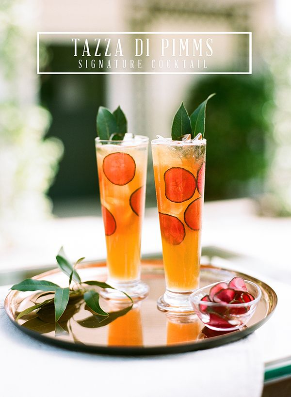 Love this signature cocktail recipe! The Tazza di Pimms from Paula Le Duc and Josh Gruetzmacher | Snippet & Ink