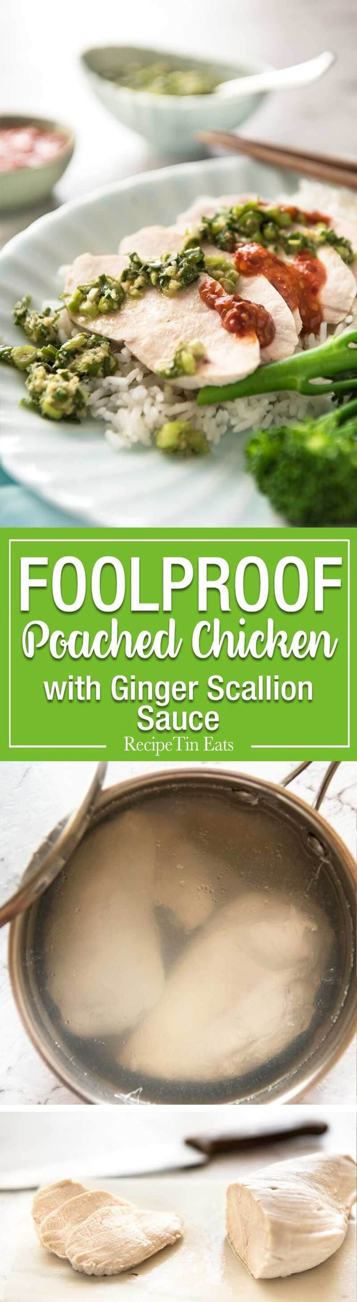 Extra juicy perfect Poached Chicken Breast guaranteed to work every single time! This technique is so easy, it will blow your mind. Served with a gorgeous Ginger Scallion (Shallot) Sauce. www.recipetineats.com