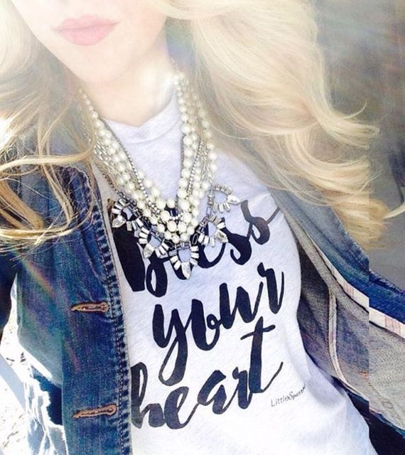 SALE NEW Bless your Heart screen printed t by LittleSparrowBows