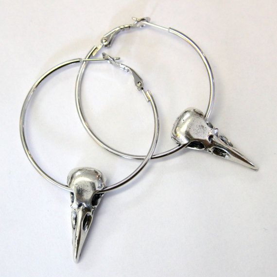 Silver Raven Skull Hoop Earrings in Solid White Bronze by mrd74