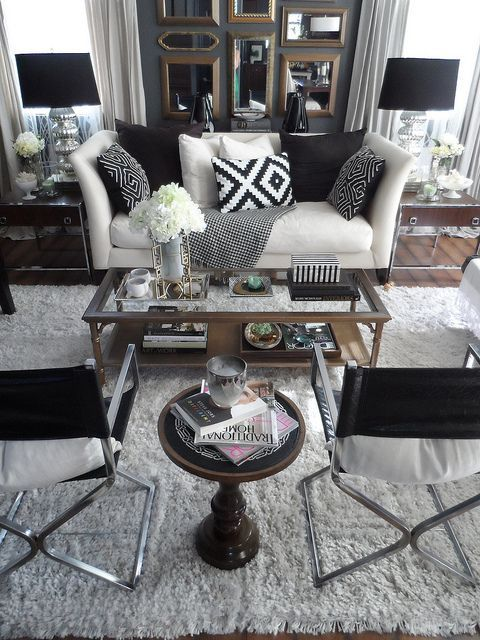 Black and white living room styling | interior design, home decor, design, decor. More ideas at http://www.bocadolobo.com/en/products/coffee-cocktail-tables.php
