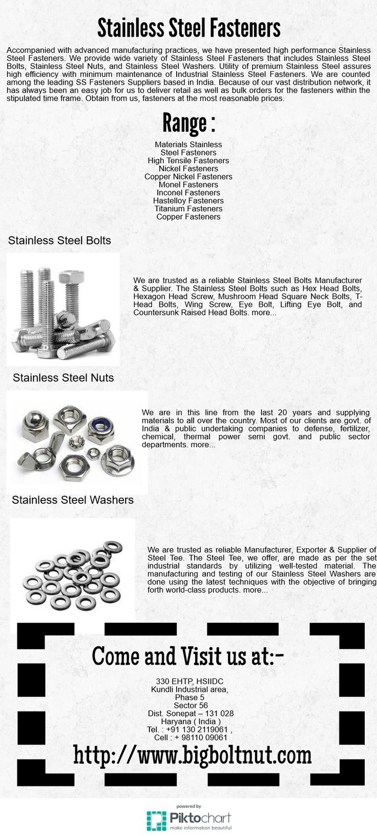 Accompanied with advanced manufacturing practices, we have presented high performance Stainless Steel Fasteners. We provide wide variety of Stainless Steel Fasteners that includes Stainless Steel Bolts, Stainless Steel Nuts, and Stainless Steel Washers.