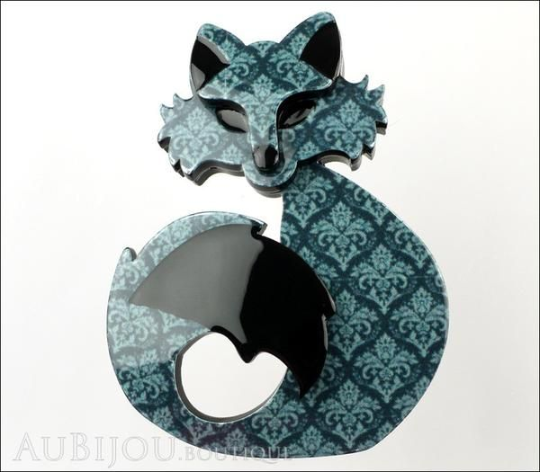Erstwilder Fox Brooch Pin She's so Foxy Teal Tapestry Front