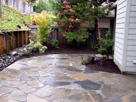 patio ideas on a budget wet laid flagstone patio in mortar starting at - Stone Patio Designs