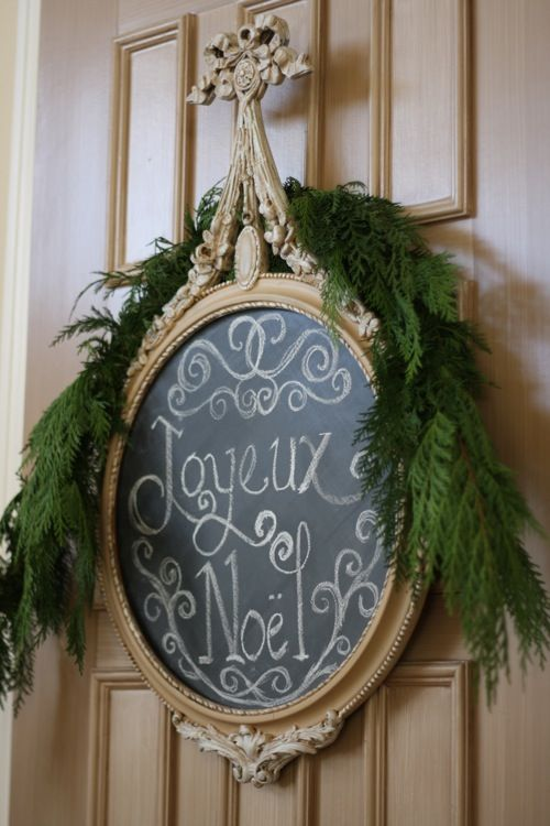 Love this holiday blackboard!!! Bebe'!!! Festive decoration from repurposed items!!!