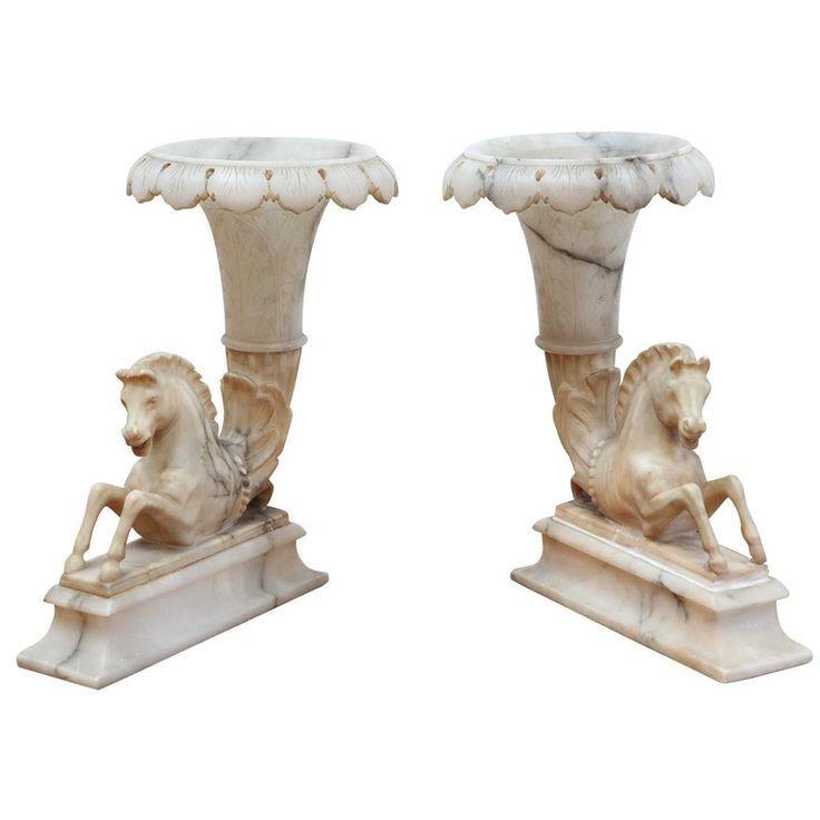 Italian, Alabaster Cornucopia Vases  Baroque, Empire, Traditional, Stone, Decorative Object by Antonios Bella Casa