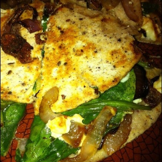 ... spinach and feta quesadilla. I had blue corn and flax tortilla on hand