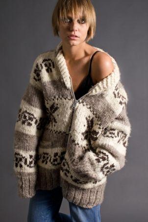 Telltale Hearts Vintage Zipper Front Cowichan Sweater
