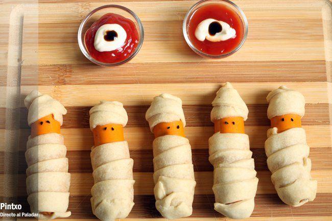 Receta de salchichas momia para Halloween.