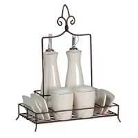 RUSTIC CONDIMENT SET W/WIRE STAND