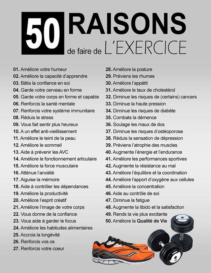 50 raisons de faire de l'exercice - À lire absolument... - Trucs et Astuces - Trucs et Astuces - Cours Toutoune