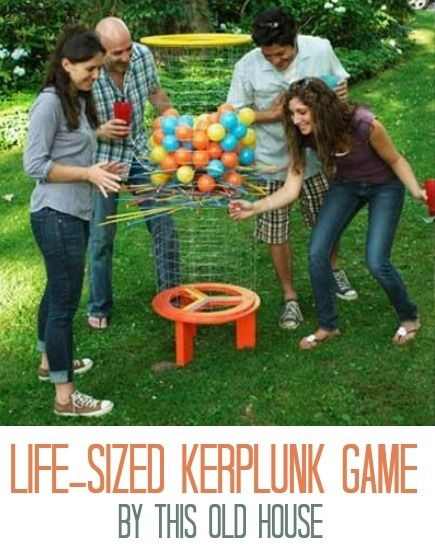 DIY Life-Sized Kerplunk GameBackyards Games, Old House, Lawns Games, Lawn Games, Backyard Games, Kerplunk Games, Diy Backyards, Outdoor Games, 13 Diy