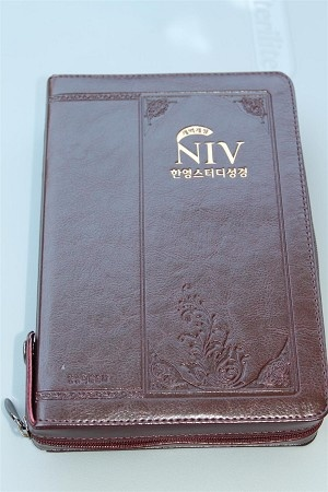 Korean - English Bilingual Study Bible / NIV - NKRV / Holy Bible Old and New Testaments / New Korean Revised Version - NIV / Leather Bound Golden Edges with Zipper and Thumb Index