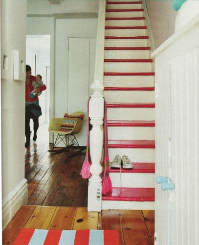 pink steps: Idea, Paintings Stairs, Floors, Color, Beaches Home, Stairs Treads, Basements Stairs, Paintings Stairca, Pink Stairs