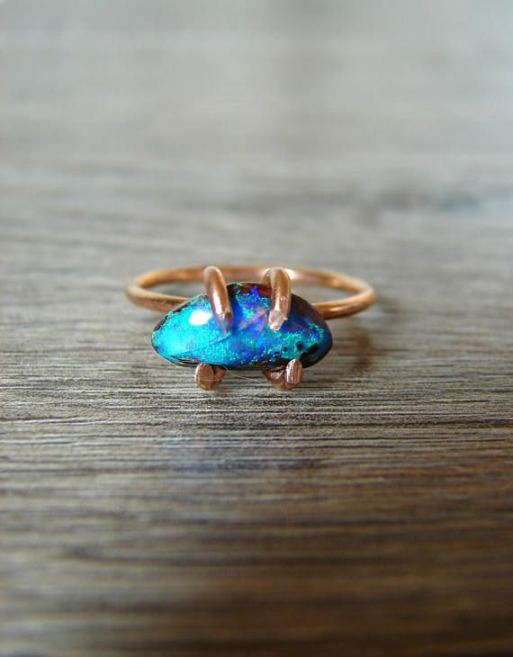 Opal Ring for Her Opal Engagement Ring Black Opal Jewelry #engagement #weddings #bride #brides #bridalring #proposal #opal #opalring #rawopal #opalengagement