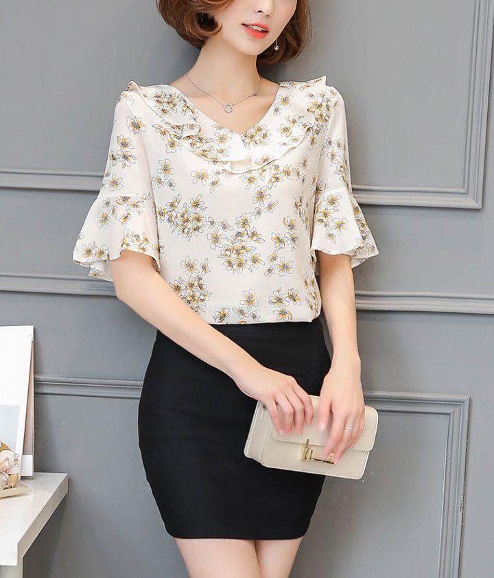 Slim fashion chiffon shirt spring tops for women