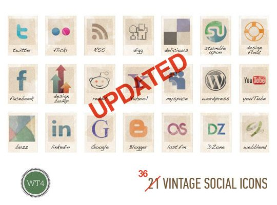 Vintage Social Icons (for blogs)