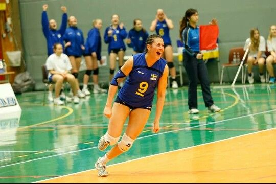 Sweden's team captain Daniella scores at the qualifier for the 2014 CEV U19 Volleyball European Championship - Women