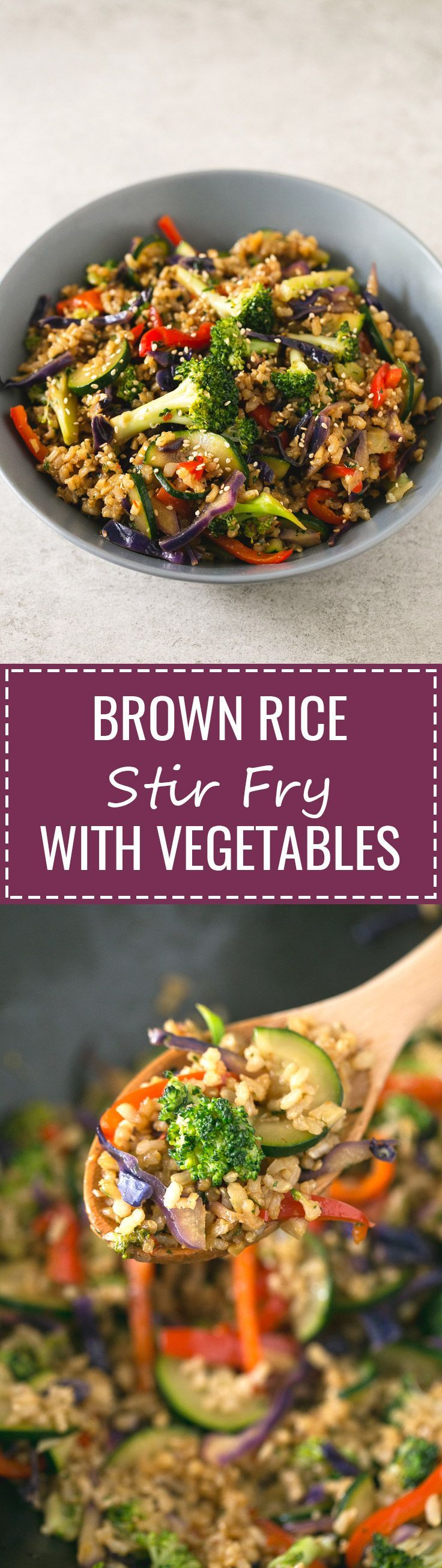 Brown rice stir fry with vegetables - I make this brown rice stir-fry with vegetables every single week. This recipe is life-changing and so simple, I'm sure you'll love it!