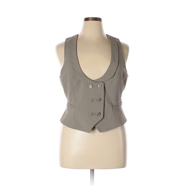 New York & Company Tuxedo Vest ($16) ❤ liked on Polyvore featuring outerwear, vests, tan, brown tuxedo vest, brown waistcoat, vest waistcoat, brown vest and brown tuxedo