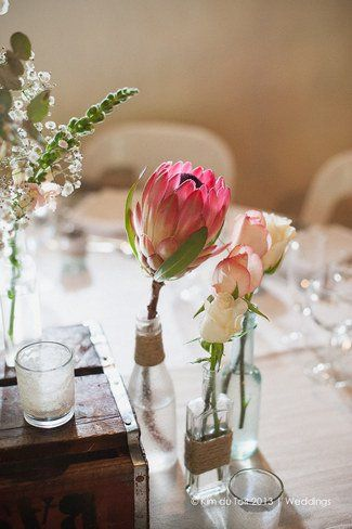 King Proteas add a pop of colour to this blush and green colour palette ♥ Protea and Rustic Fynbos Inspired Wedding at Langverwagt | Confetti Daydreams ♥  ♥  ♥ LIKE US ON FB: www.facebook.com/confettidaydreams  ♥  ♥  ♥ #Wedding #RealBride #RusticWedding