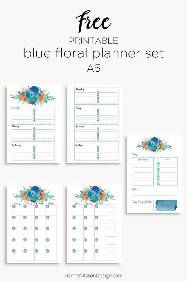 Blue Floral Planner Calendar Inserts A5 And Personal Size Free