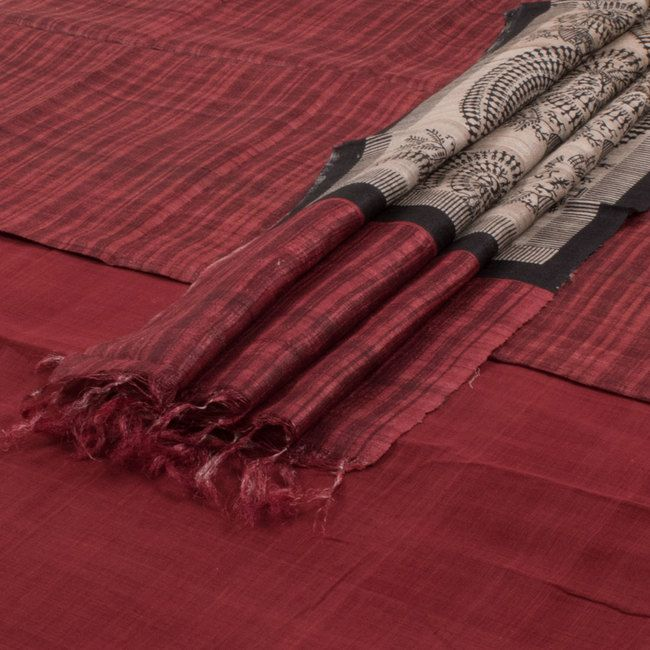 Ghanshyam Sarode Handwoven Tussar Silk & Khadi Cotton 3 Piece Salwar Suit Material with Warli Printed Dupatta 10005507 - AVISHYA.COM