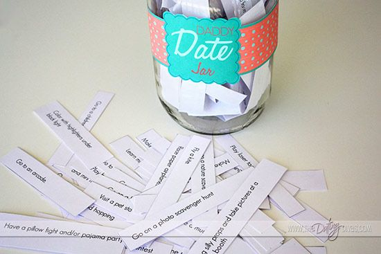 Daddy-daughter date jar (ideas for daddy-son, too). :) Great idea for next year or the year after!