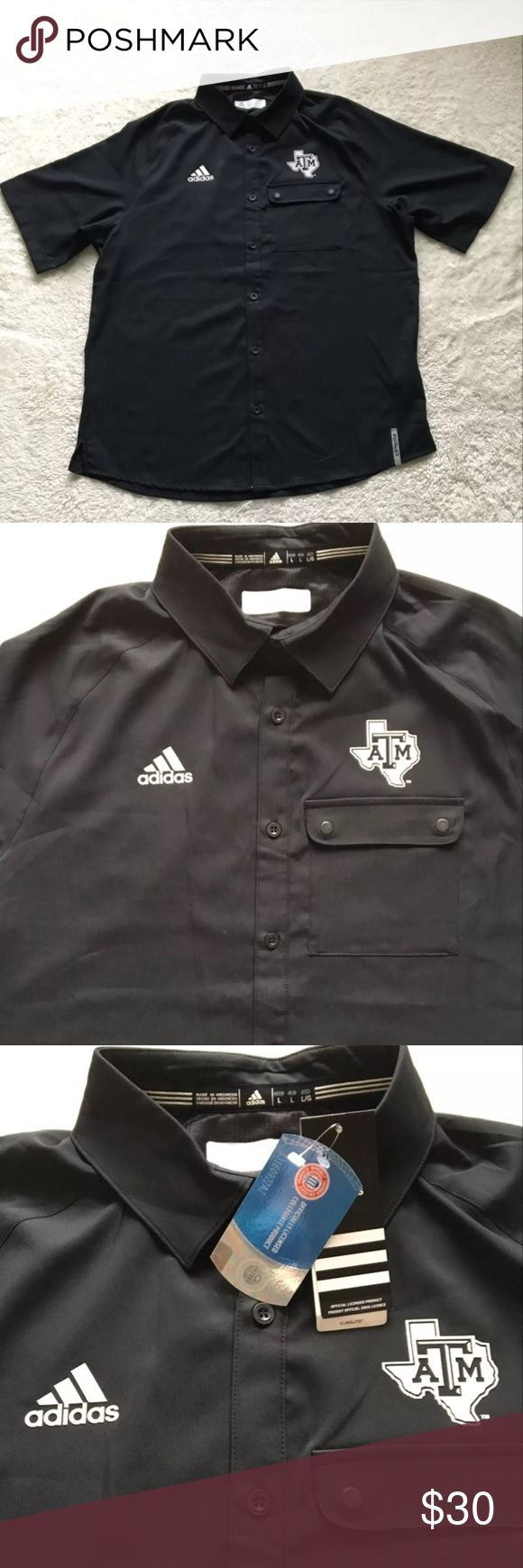 """Men's Texas A&M Aggies Button Front Shirt Sz Lg New with tags  Men's adidas Texas A&M ClimaLite short sleeve Button Up collared shirt Button pocket in the front Men's size large. It is a lightweight black shirt with a raised Adidas and Texas A&M logo on the chest. 100% polyester.  Bottom is slightly longer in the back than the front With split sides at the bottom Tags attached to the fabric tag Measurements taken from the back and are approximate: Shoulder to bottom hem: 30.5"""" Armpit to…"""