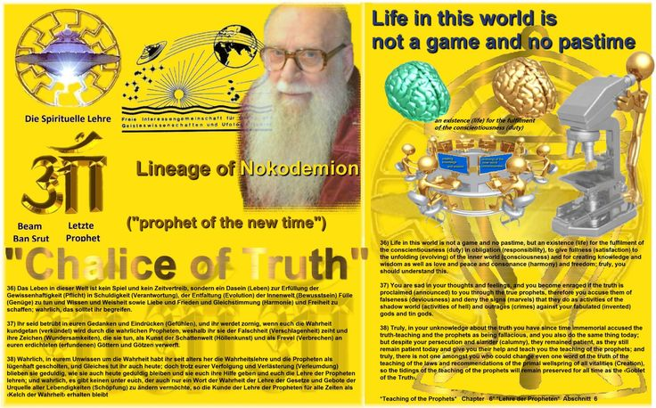 37) You are sad in your thoughts and feelings, and you become enraged if the truth is proclaimed (announced) to you through the true prophets, therefore you accuse them of falseness (deviousness) and deny the signs (marvels) that they do as activities of the shadow world (activities of hell) and outrages (crimes) against your fabulated (invented) gods and tin gods.  http://www.figu.org/ch/files/downloads/buecher/figu-kelch_der_wahrheit_goblet-of-the-truth_v_20150307.pdf
