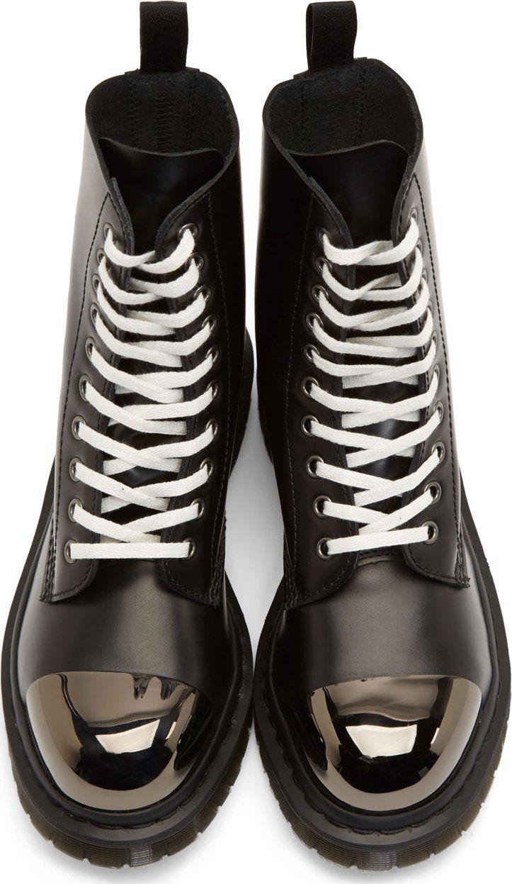 Dr. Martens Black Leather Steel Toe Grasp Boots