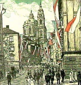 """PREISSIG Vojtěch (1873-1944): """"Den nezávislosti"""", bar. dřevoryt"""