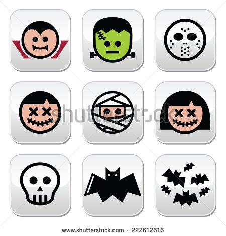 Halloween characters - Dracula, monster, mummy, voodoo doll, Frankenstein buttons  by RedKoala