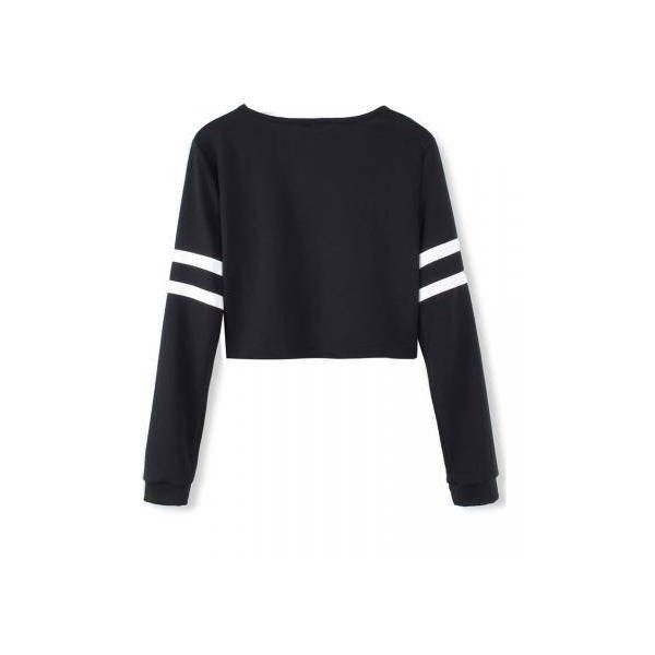 White Stripped Black Long Sleeve Short Crop Baseball Women T-Shirt (33 ILS) ❤ liked on Polyvore featuring tops, t-shirts, black crop tee, baseball tee, baseball t shirt, white tee and long sleeve t shirts