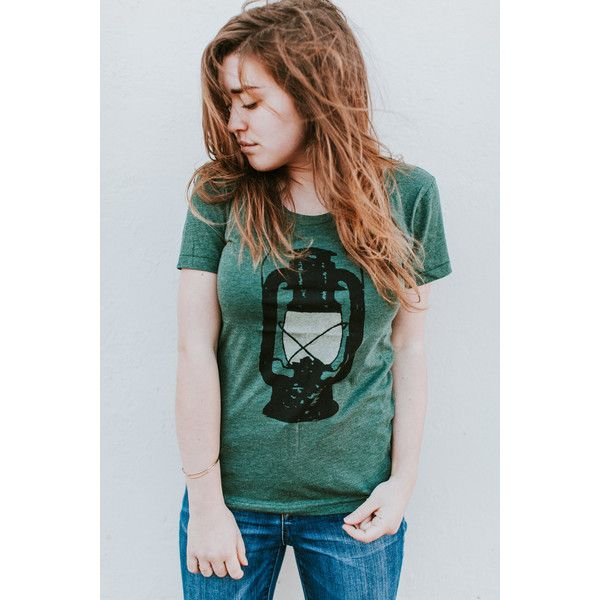 Womens Camping Shirt Pnw Shirt Outdoor Summer T Shirt Camping Lantern... ($26) ❤ liked on Polyvore featuring tops, t-shirts, grey, women's clothing, slim fitted t shirts, gray shirt, vintage shirts, vintage tee-shirt and summer t shirts