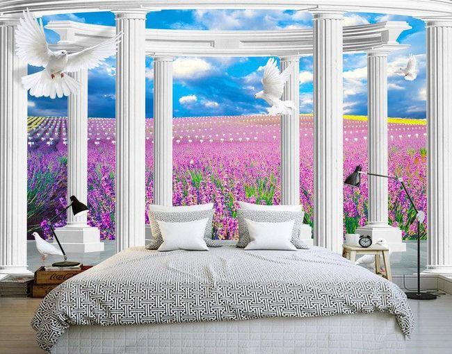d cor trompe l 39 oeil effet 3d paysage romantique dans le champ de lavande papier peint 3d. Black Bedroom Furniture Sets. Home Design Ideas