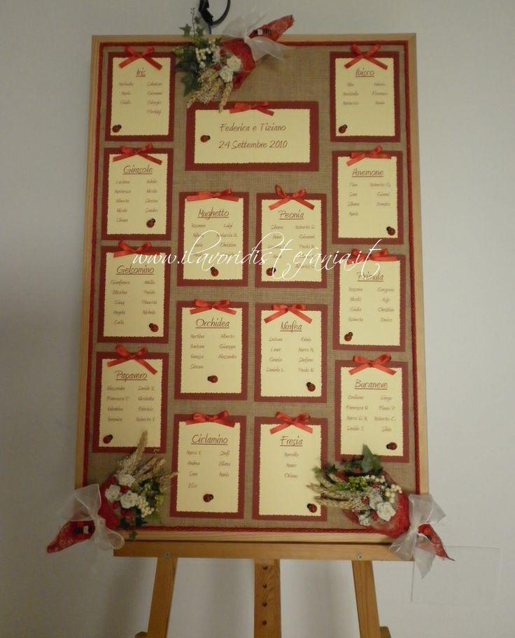 Tableau de mariage fiori rosso e avorio