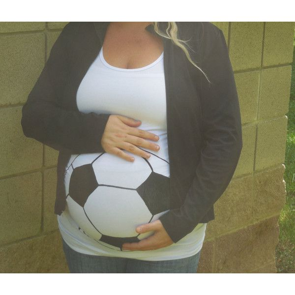 Soccer Maternity Shirt Halloween Maternity Shirt Soccer Ball Baby Bump... ($25) ❤ liked on Polyvore featuring grey, tanks, tops and women's clothing