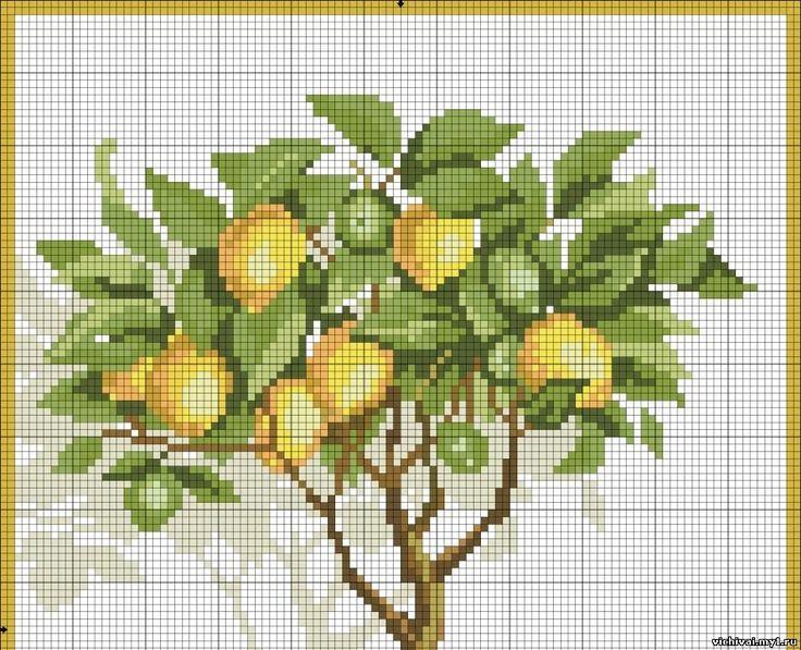 Вышивка крестом лимонного дерева