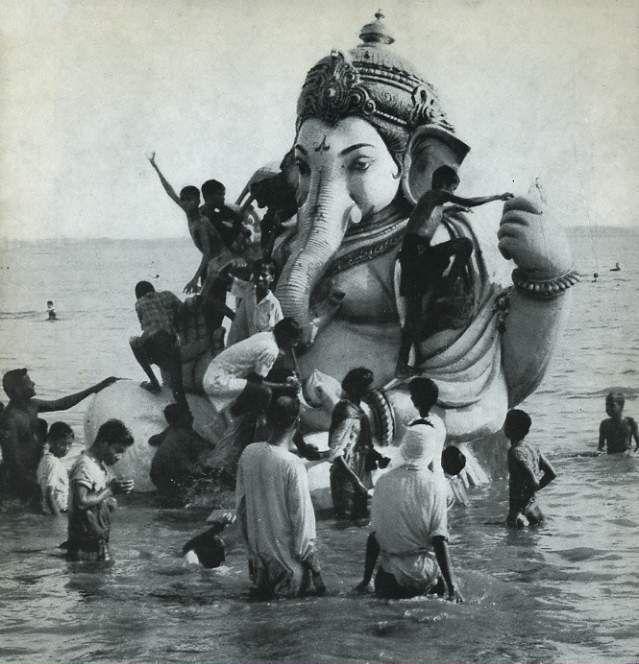 Ganapati visarjan at the end of the 10 day festival celebrating His birthday